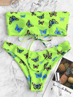 ZAFUL Butterfly Print Lace Up Bandeau Bikini Swimwear - Multi-b M