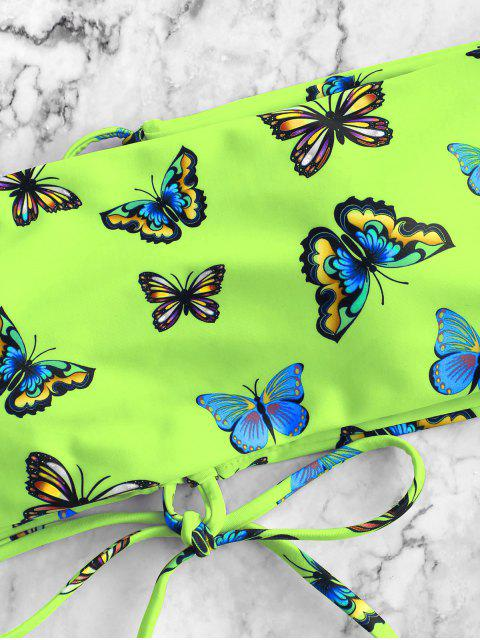 hot ZAFUL Butterfly Print Lace Up Bandeau Bikini Swimwear - MULTI-B S Mobile