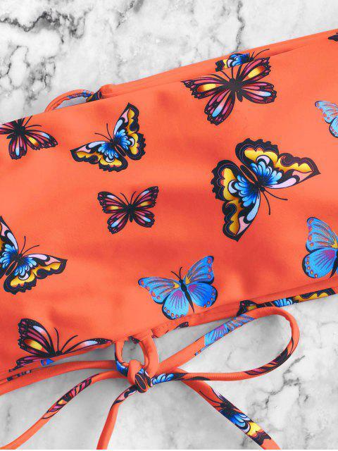 ZAFUL Maillot de Bain Bikini Bandeau Papillon Imprimé à Lacets - Multi-C S Mobile