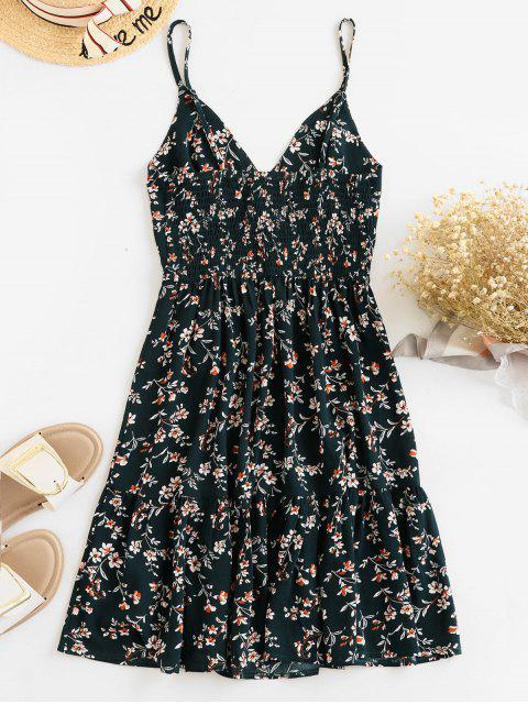 buy ZAFUL Buttons Floral Print A Line Cami Dress - MEDIUM SEA GREEN S Mobile