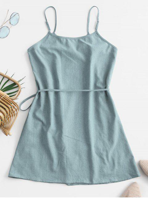 shops ZAFUL Tie Chambray Cami Wrap Dress - JEANS BLUE M Mobile