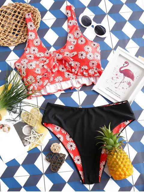 new ZAFUL Daisy Print Ruffle Knot Reversible Tankini Swimsuit - MULTI-A L Mobile