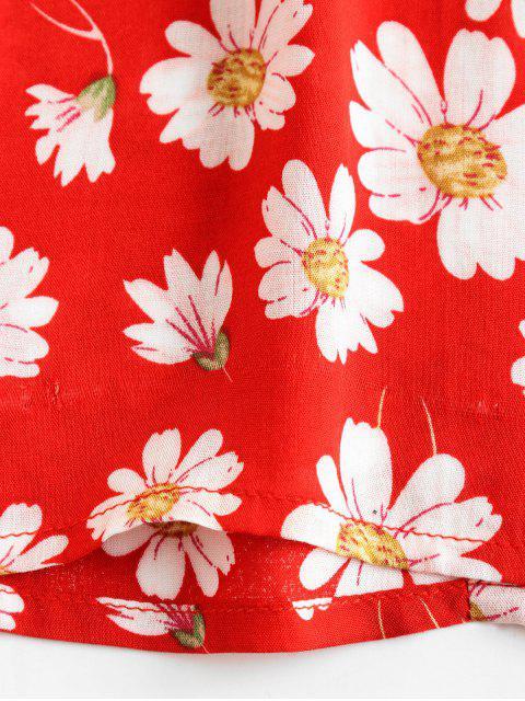 fashion ZAFUL Daisy Floral Print Short Milkmaid Dress - CHESTNUT RED M Mobile