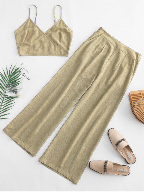 ladies ZAFUL Cami Pocket Straight Pants Set - LEMON CHIFFON L Mobile