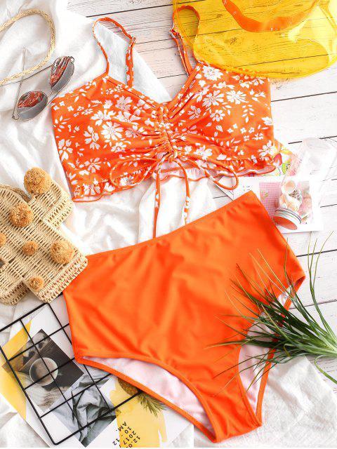 ZAFUL ceñido con volantes floral Tankini traje de baño - Naranja de Calabaza  XL Mobile