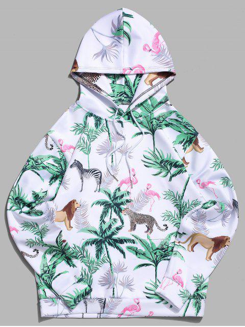 fashion Tropical Plant Flamingo Animal Print Kangaroo Pocket Vacation Hoodie - LIGHT SEA GREEN M Mobile