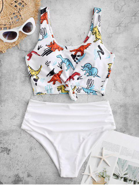 sale ZAFUL Knot Dinosaur Print Ruched Tankini Swimsuit - WHITE L Mobile