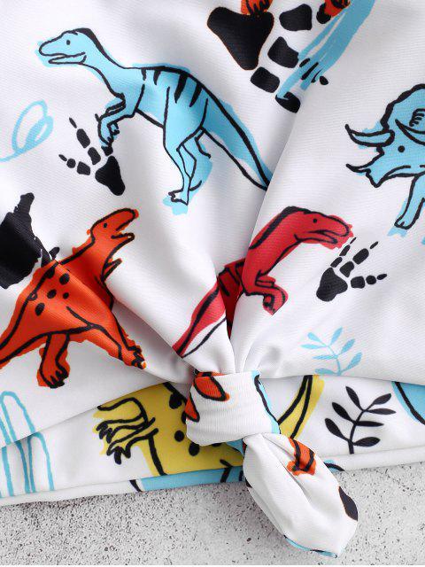 Traje de baño Tankini fruncido con estampado de dinosaurio nudo ZAFUL - Blanco M Mobile