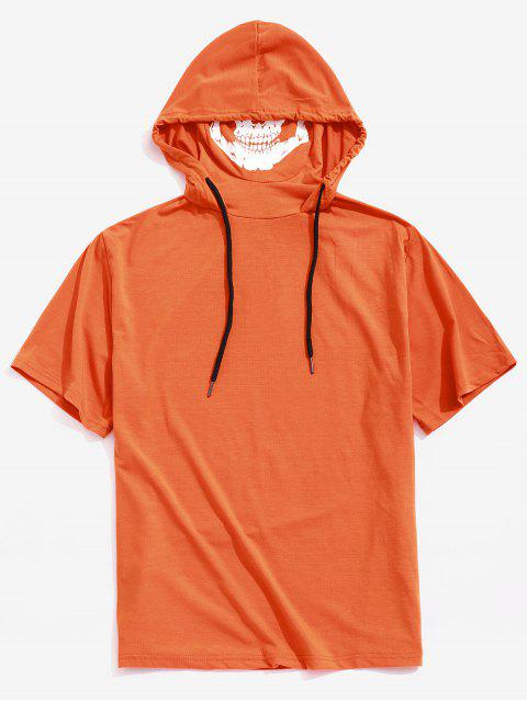 T-shirt à Capuche d'Halloween Masque Crâne Imprimées en Couleur Unie à Ourlet Zippé - Orange Citrouille XS Mobile