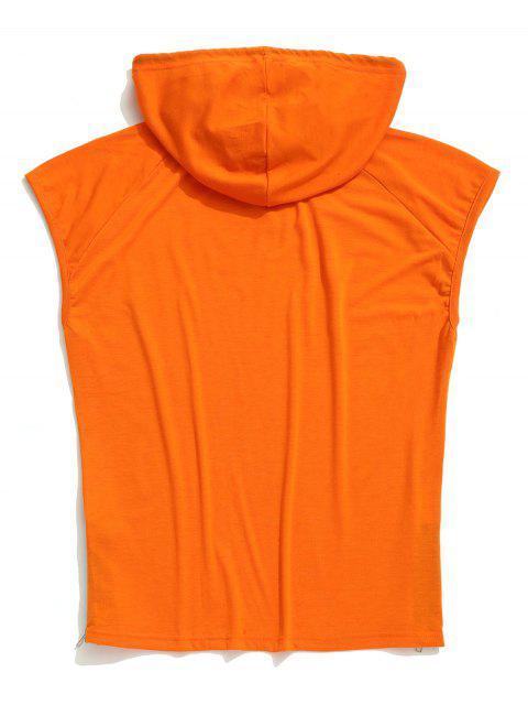 Camiseta sin mangas con capucha y estampado de máscara de calavera con dobladillo sólido - Naranja de Calabaza  S Mobile