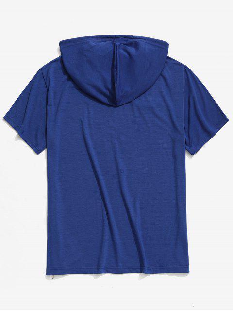 Camiseta con capucha y estampado de calavera con estampado de calavera sólida de Halloween - Azul de Arándanos L Mobile