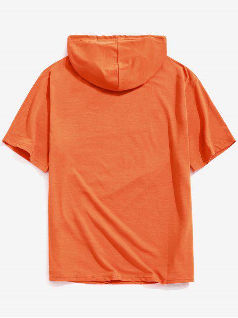 Camiseta con capucha y estampado de calavera con estampado de calavera sólida de Halloween - Naranja de Calabaza  S Mobile