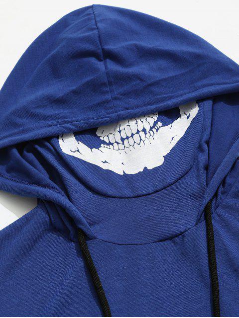 Camiseta con capucha y estampado de calavera con estampado de calavera sólida de Halloween - Azul de Arándanos M Mobile