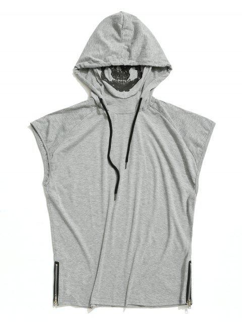 Camiseta sin mangas con capucha y estampado de máscara de calavera con dobladillo sólido - Gris Claro XS Mobile