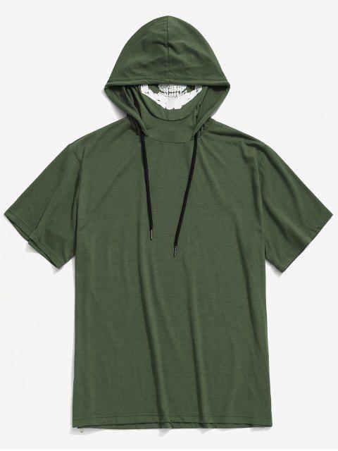 Camiseta con capucha y estampado de calavera con estampado de calavera sólida de Halloween - Ejercito Verde XS Mobile