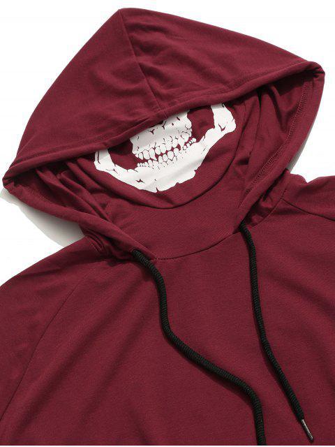 Camiseta sin mangas con capucha y estampado de máscara de calavera con dobladillo sólido - Vino Tinto XS Mobile
