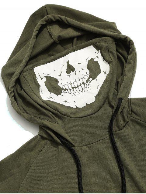 Camiseta sin mangas con capucha y estampado de máscara de calavera con dobladillo sólido - Ejercito Verde S Mobile