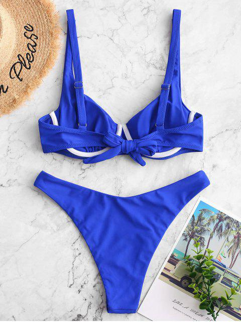 ZAFUL Maillot de Bain Bikini Push Up Noué au Dos à Coupe Haute - Bleu M Mobile