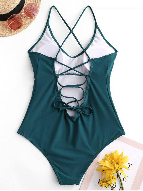 unique ZAFUL Lace Up Padded One-piece Swimsuit - PEACOCK BLUE M Mobile