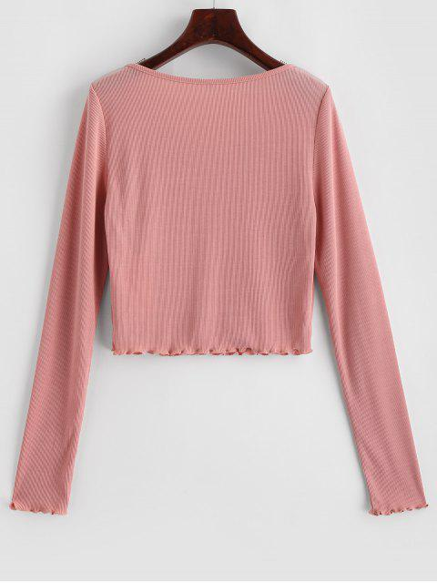 ladies ZAFUL Lettuce Trim Notched Crop Solid Tee - ROSE M Mobile