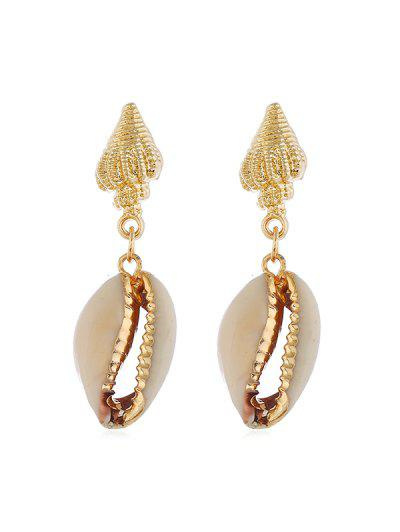 Conch Shell Stud Drop Earrings - Gold