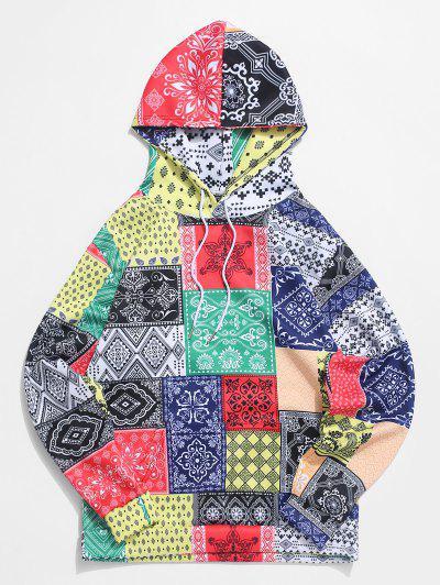 Bandana Tribal Print Casual Kangaroo Pocket Hoodie - Multi L
