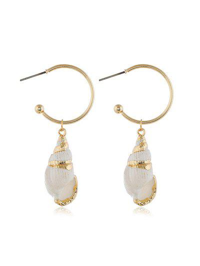 Pair Of Conch Drop Earrings - Gold