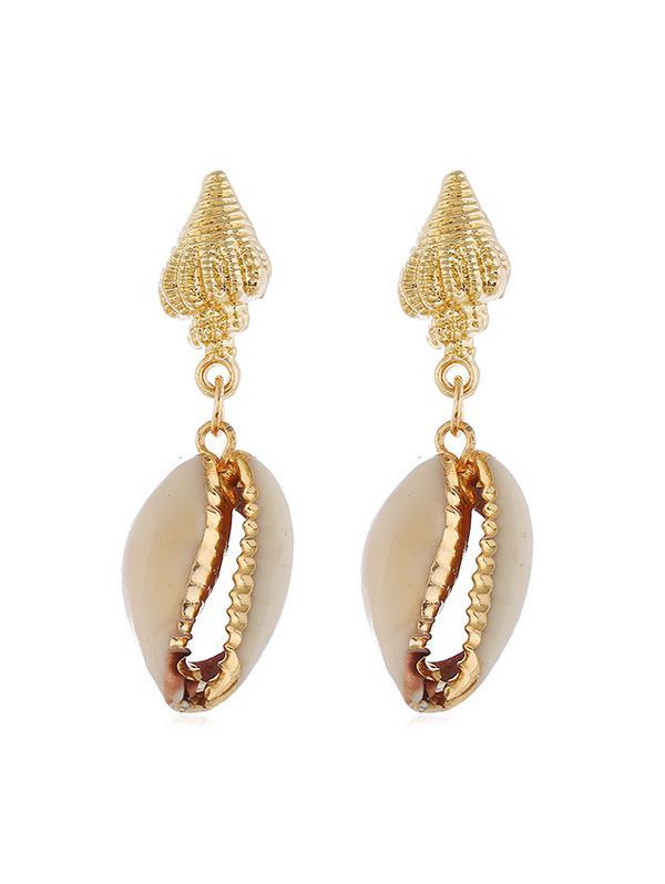 Conch Shell Stud Drop Earrings, Gold