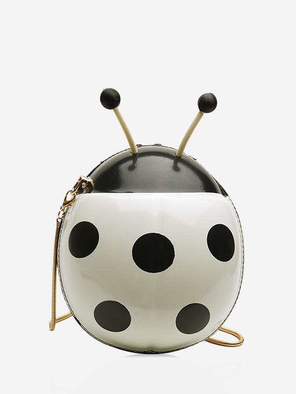 Ladybird Shape Pattern Crossbody Bag, White