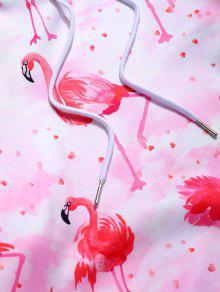 Flamingo Tie Dye Imprimir Canguru Bolso Pullover Moletom Com Capuz