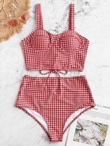 ZAFUL القماش القطني الدانتيل متابعة Underwire بوستير Tankini ملابس السباحة - الحمم الحمراء L