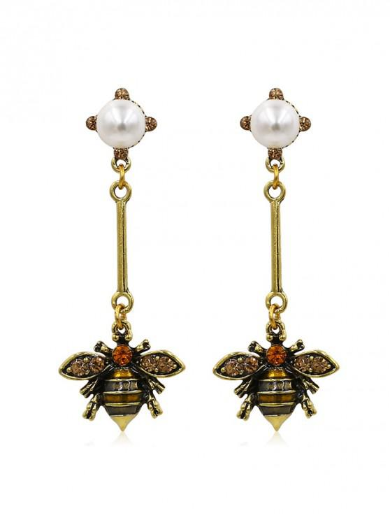 fashion Bee Design Faux Pearl Decoration Earrings - GOLD