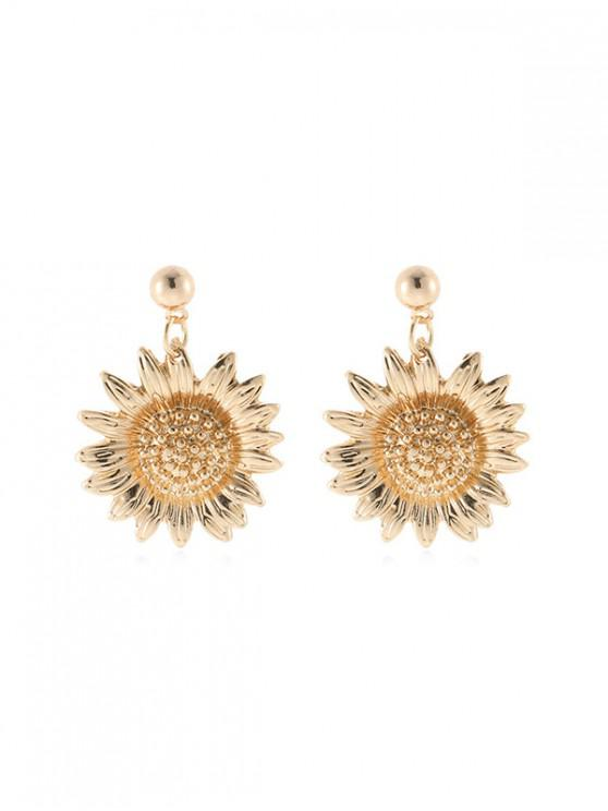 fancy Sunflower Dangle Earrings - GOLD