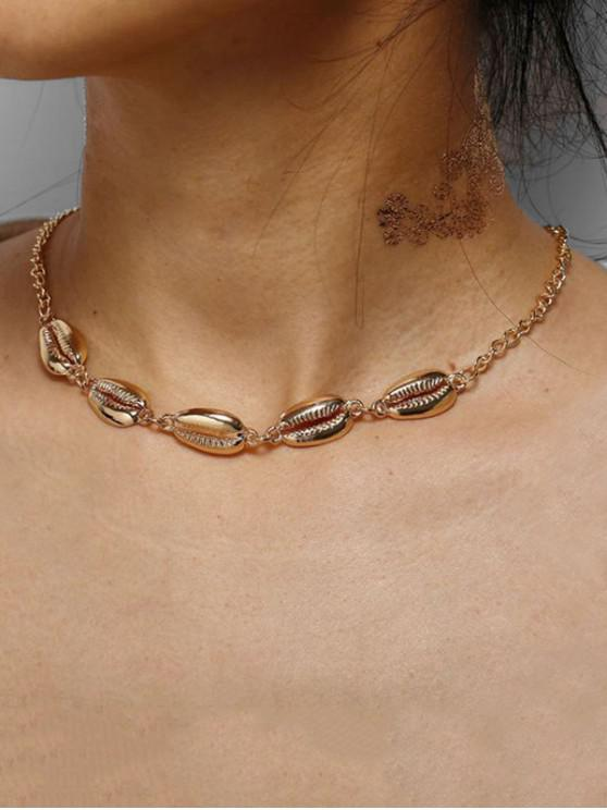 women's Shell Collarbone Chain Necklace - GOLD