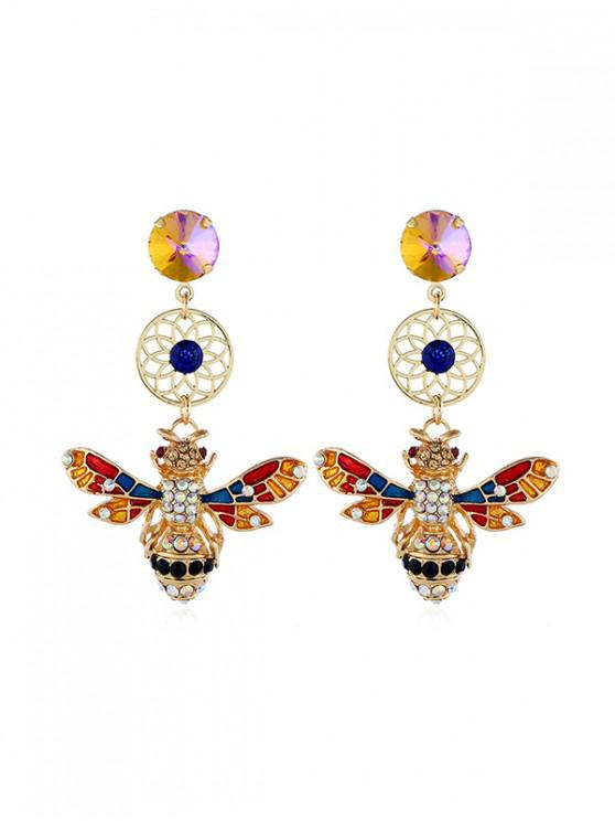 outfits Rhinestone Bee Design Drop Earrings - MULTI