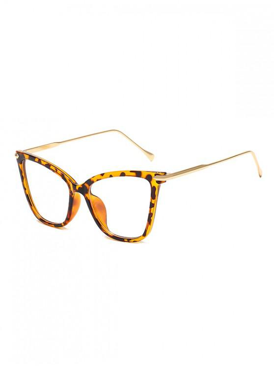 lady Oversized Catty Eye Transparent Glasses - LEOPARD