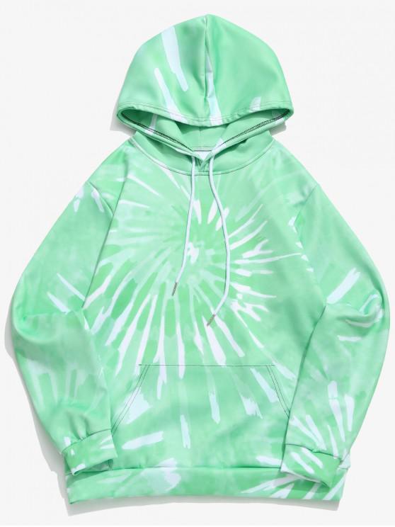 trendy Tie Dye Painting Print Kangaroo Pocket Casual Hoodie - MINT GREEN XL