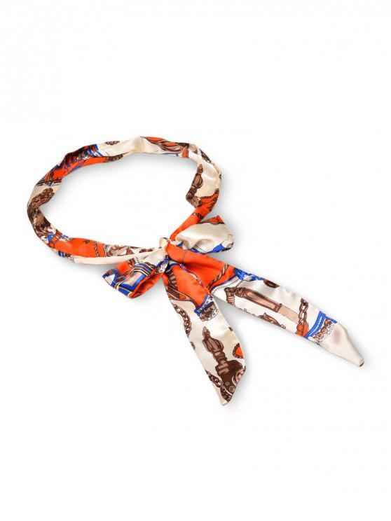 Stampa cintura di seta - Arancio