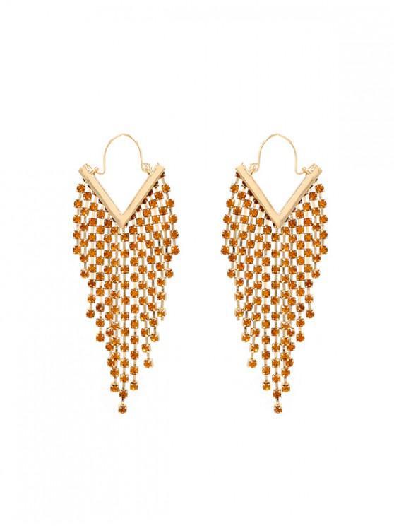 outfit Rhinestone Embellished Tassel Drop Earrings - BROWN SUGAR