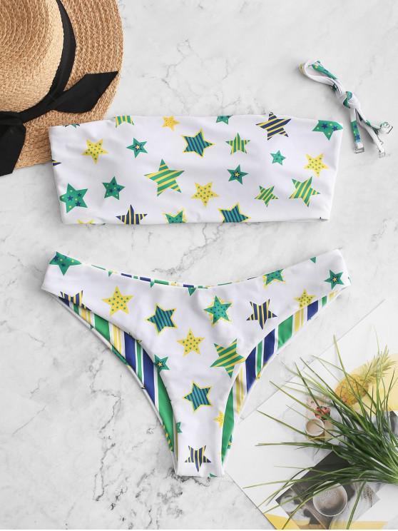 fashion ZAFUL Reversible Brazilian Flag Print Cami Bikini Swimsuit - MULTI-B S
