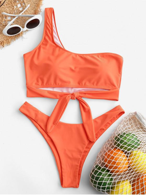 women's ZAFUL Neon One Shoulder Tie Hem Bikini Swimwear - ORANGE L