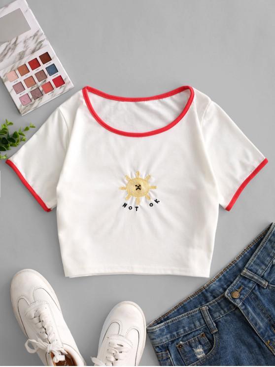 Укороченная футболка с вышивкой Sun Sun - Белый M