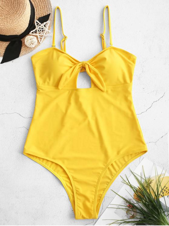 fashion ZAFUL Knotted High Leg Cut Out One-piece Swimsuit - BRIGHT YELLOW L