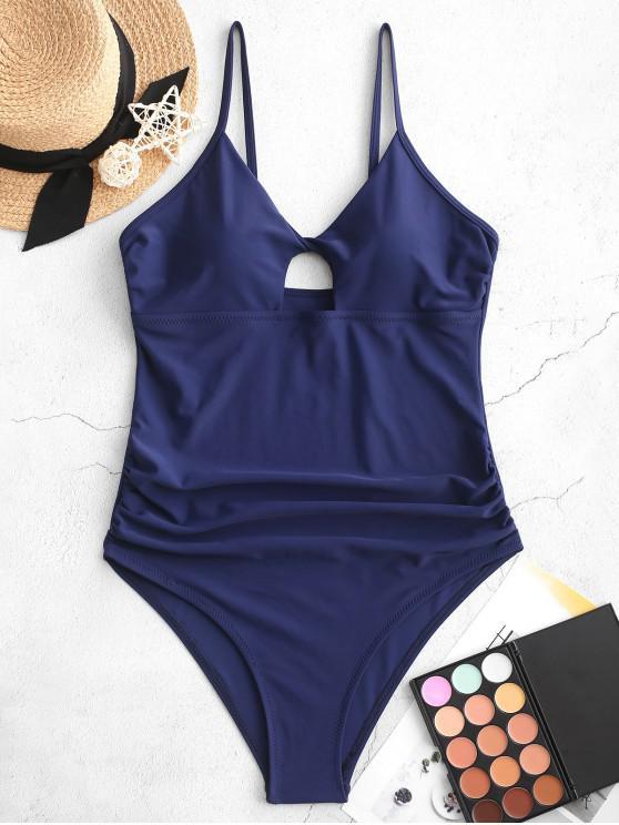 ZAFUL تويست قص عالية Ruched من قطعة واحدة ملابس السباحة - ازرق غامق XL