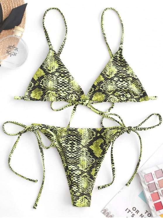 Costume da bagno bikini con stringhe di bralette con effetto serpente ZAFUL - Multi Colori-C L
