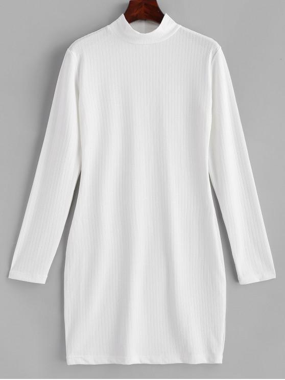 women's ZAFUL Ribbed Long Sleeve Bodycon Mini Dress - WHITE M