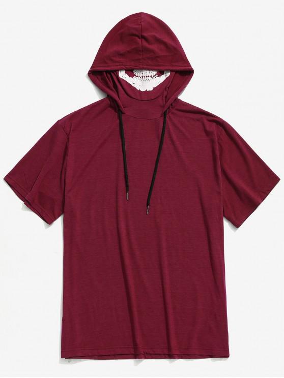best Solid Halloween Skull Mask Print Zip-hem Hooded T-shirt - RED WINE XS