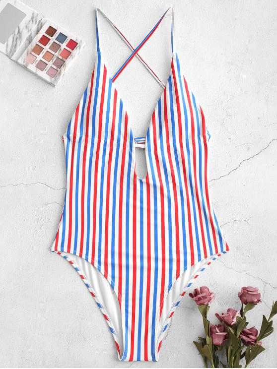 ladies ZAFUL Colorful Stripes Backless One-piece Swimsuit - MULTI-A S