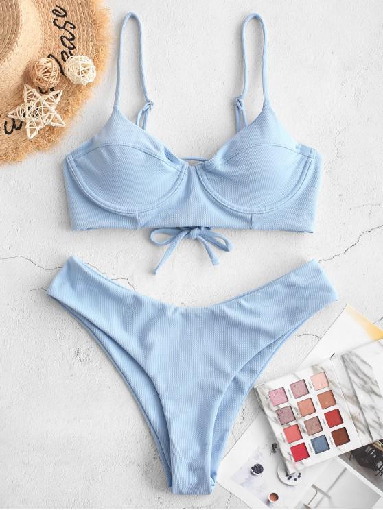 hot ZAFUL Textured Lace Up Underwire Bikini Swimsuit - DENIM BLUE S