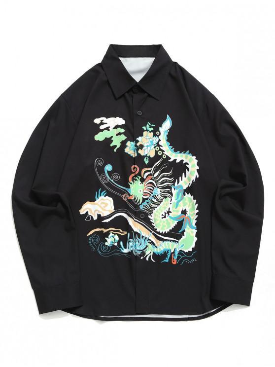 Camisa de dobladillo curvo con estampado gráfico de dragón abstracto floral - Negro 2XL